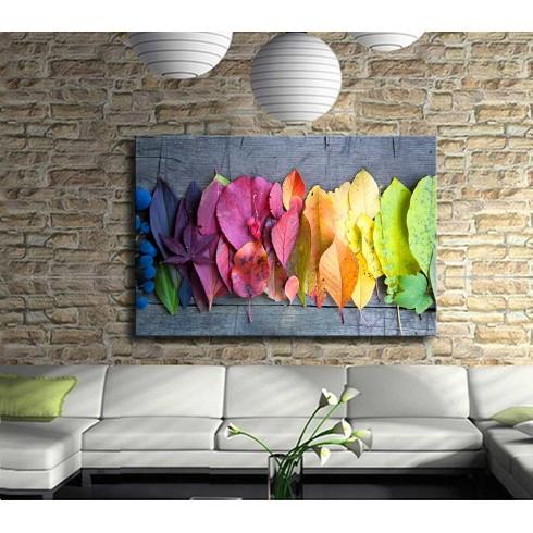 Dekoratif Renkli Yapraklar Kanvas Tablo