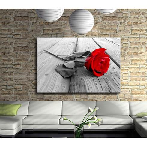 Aşıkların Çiçeği Kırmızı Gül Kanvas Tablo