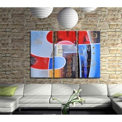 Renklerin Dansı Modern 3 Parçalı Kanvas Tablo