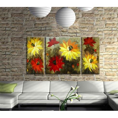 Dekoratif Çiçekler 3 Parçalı Kanvas Tablo