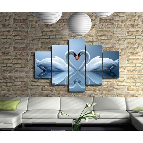 Aşık Kuğular  5 Parçalı  Kanvas Tablo