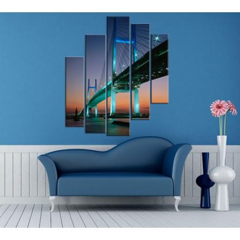 Newyork Köprüsü 5 Parçalı Kanvas Tablo