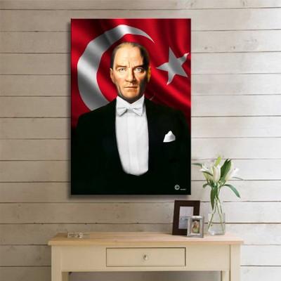 Bayraklı Atatürk  Kanvas Tablo Portre