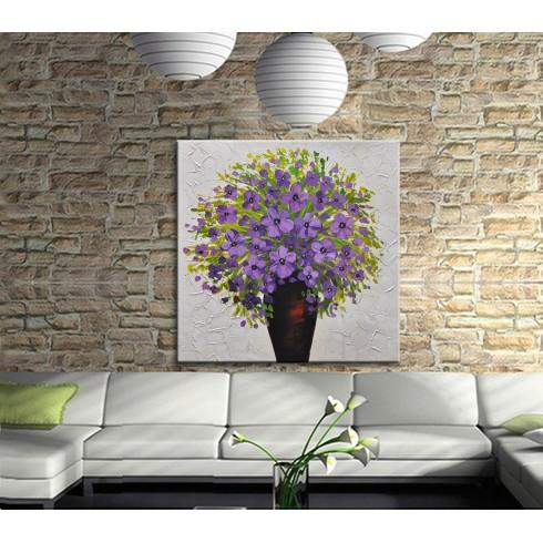 Dekoratif Vazoda Çiçekler Kanvas Tablo