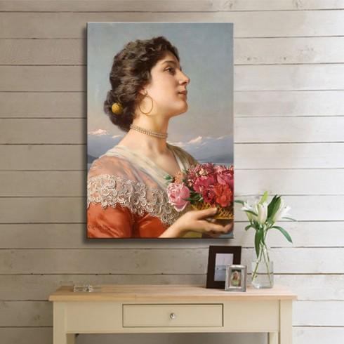 Çiçek Sepeti Kadın Oryantal Dikey Kanvas Tablo
