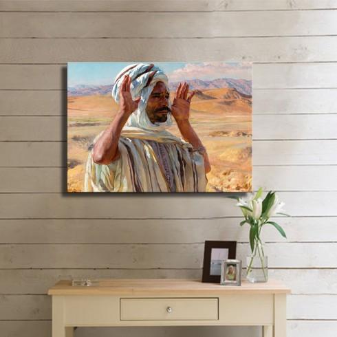 Çölde Namaz Kılan Arap Oryantal Kanvas Tablo