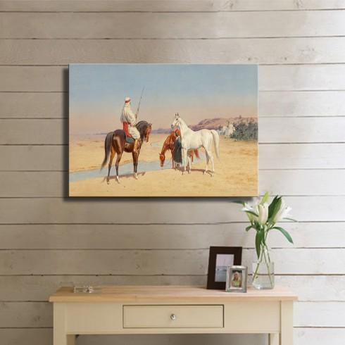 Atlarını Sulayan Yolcular Oryantal Kanvas Tablo