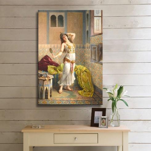 Aynaya Bakan Güzel Kız Oryantal Dikey Kanvas Tablo