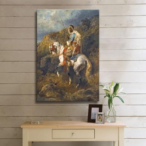 Dağlarda ki Atlı Savaşçı Oryantal Dikey Kanvas Tablo