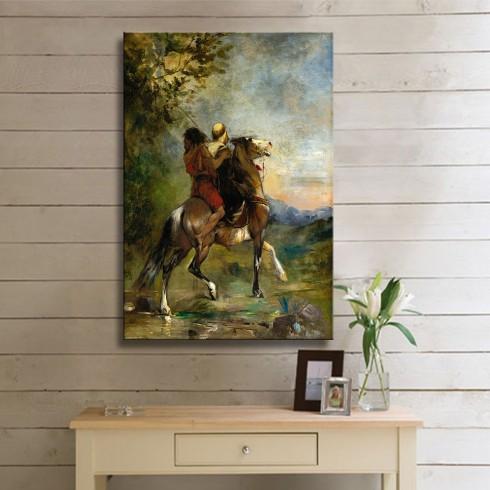 Atlı Kaçaklar Dikey Oryantal Kanvas Tablo