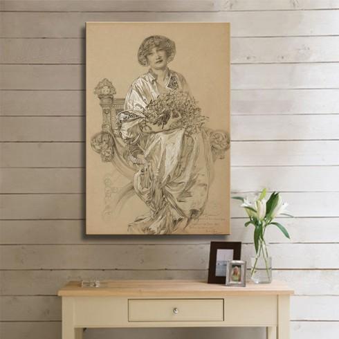 Alphonse Mucha Bildnis der Madame Deschamps Kanvas Tablo