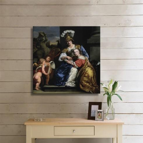 Bol Ferdinand  Allegorie ophet onderwijs Margarit Trip haar zuster Anna Maria Trip onderwijzend KANVAS TABLO