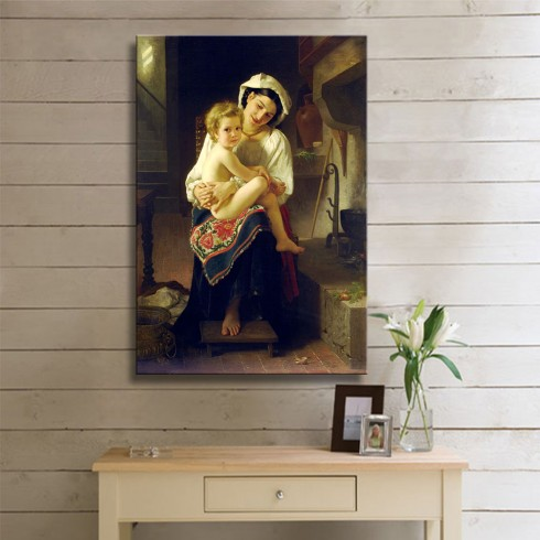 Bouguereau William Young Mother Gazing At Her Child KANVAS TABLO