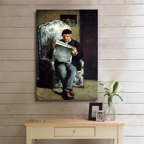 Cezanne Paul  Portrait of the Artist Father Louis Auguste Cezanne Reading KANVAS TABLO