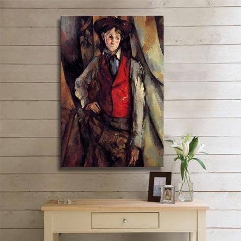 Cezanne Paul Garcon au gilet rouge KANVAS TABLO