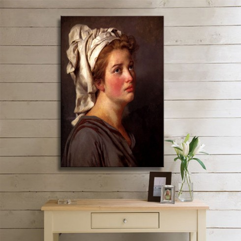 David Jacques Louis Portrait of a Young Woman in a Turban KANVAS TABLO