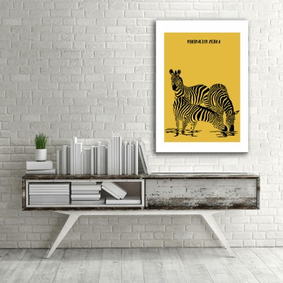 Minimal Zebraların Dünyası Dikey Kanvas Tablo