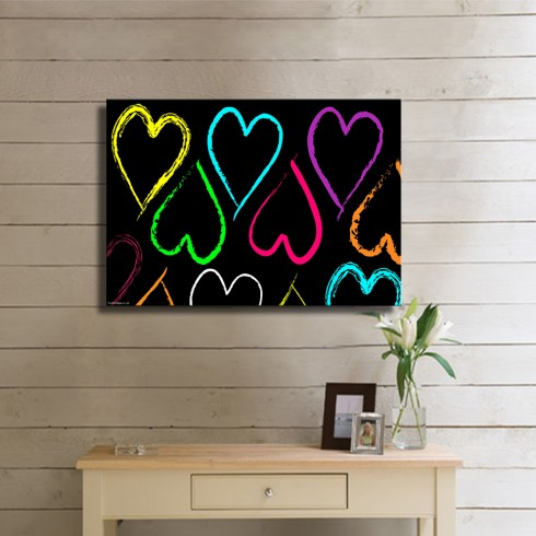 Bir Birine Eşlik Eden Renkli Kalpler Modern Kanvas Tablo