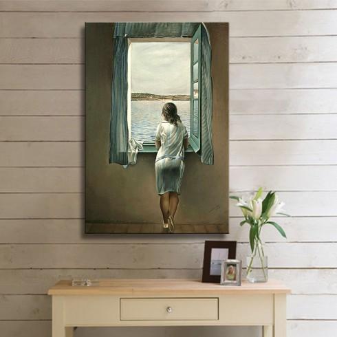 Camdan Bakan Kadın İnsan Yaşam Dikey Kanvas Tablo