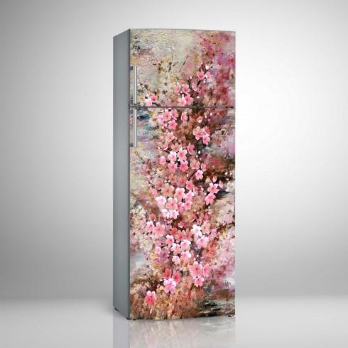 Buzdolabı Sticker Buzdolabın da Büyüyen Çiçekler Beyaz Eşya Stickerları
