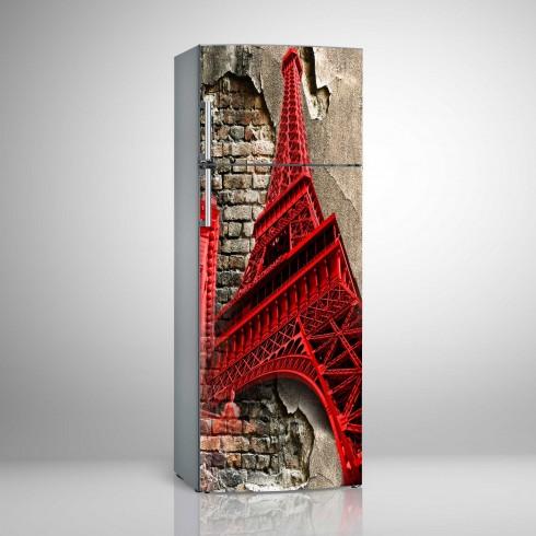 Buzdolabı Sticker Kırmızı Pop Art Paris Beyaz Eşya Sticker