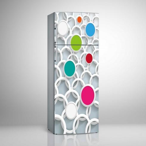 Buzdolabı Sticker Boyutlu Renkli Halkalar Beyaz Eşya Stickerları